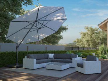Technorattanowe meble tarasowe z parasolem